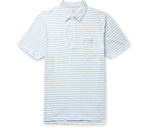 Chambray-Trimmed Mélange Cotton-Blend Jersey Polo Shirt