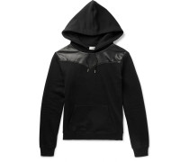 Leather-panelled Loopback Cotton-jersey Hoodie