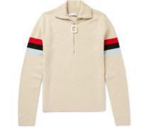 Striped Wool Half-zip Sweater