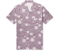 Camp-Collar Floral-Print Cotton-Seersucker Shirt