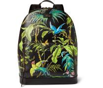 Tropical-print Full-grain Leather Backpack
