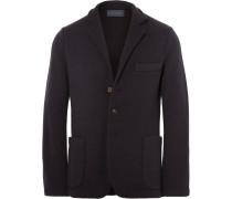 Midnight-blue Slim-fit Unstructured Cashmere Blazer