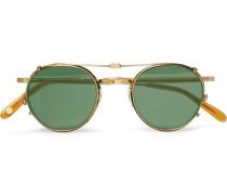 Wilson 46 Round-frame Tortoiseshell Acetate And Gold-tone Optical Glasses With Clip-on Uv Lenses