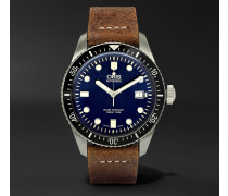 Divers Heritage 65 Stainless Steel And Suede Automatic Watch