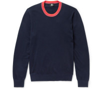 Contrast-trimmed Cotton-blend Sweater