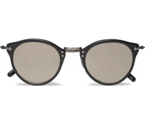 Op-505 Round-frame Acetate And Gunmetal-tone Sunglasses