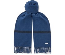 Fringed Striped Baby Cashmere Scarf