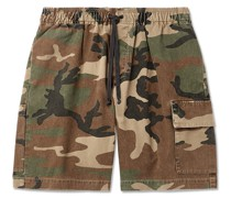 Camouflage-Print Cotton-Twill Drawstring Cargo Shorts