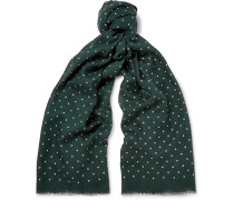 Polka-dot Wool And Silk-blend Scarf