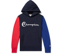 Colour-block Embroidered Loopback Cotton-jersey Hoodie