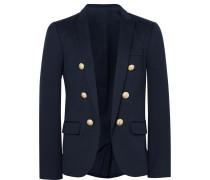 Blue Slim-fit Cotton-jersey Blazer