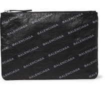 Supermarket Printed Creased-leather Pouch