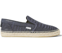 Vlad Croc-effect Leather Espadrilles