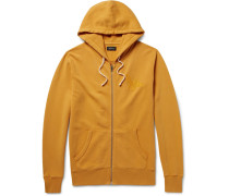 Jp Embroidered Loopback Cotton-jersey Zip-up Hoodie