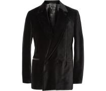 Black Unstructured Double-breasted Velvet Blazer