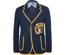 Blue Slim-fit Appliquéd Cotton Blazer
