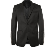 Black Slim-fit Zip-trimmed Wool-blend Blazer