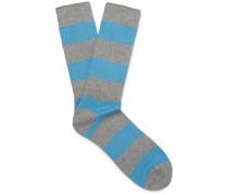 Striped Ribbed-knit Socks