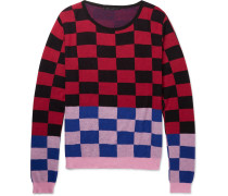 Oversized Checked Cotton And Cashmere-blend Sweater