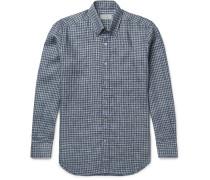 Button-down Collar Checked Linen Shirt