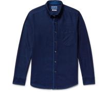 Slim-fit Button-down Collar Indigo-dyed Cotton-twill Shirt