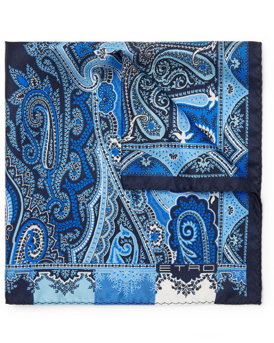 Paisley-print Silk-twill Pocket Square - Blue