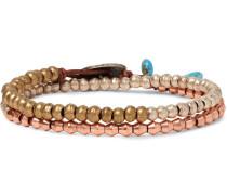 Brass, Copper And Silver Wrap Bracelet