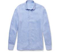 Penny-collar Slubbed Linen Shirt