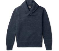 Shawl-collar Mélange Cotton Sweater
