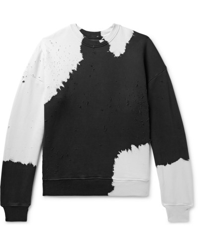 Oversized Distressed Tie-dyed Loopback Cotton-jersey Sweatshirt - Black