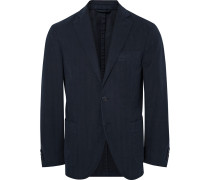 Blue Slim-fit Herringbone Cotton-twill Blazer