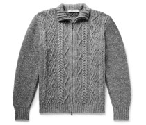 Cable-Knit Merino Wool and Cashmere-Blend Zip-Up Cardigan