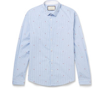 Slim-fit Penny-collar Printed Gingham Cotton Shirt