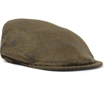 Checked Wool-blend Tech-tweed Flat Cap