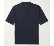 Contrast-Tipped Ribbed Mulberry Silk Polo Shirt