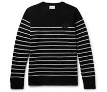 Louis Logo-Appliquéd Striped Wool-Blend Sweater