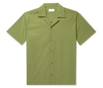 Canty Camp-Collar Striped Seersucker Shirt
