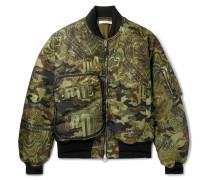 Printed Satin-twill Bomber Jacket