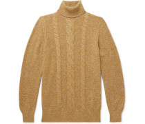 Cable-Knit Mélange Baby Cashmere Rollneck Sweater