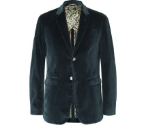 Petrol Slim-fit Cotton-velvet Blazer