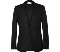 Grey Slim-fit Pinstriped Wool Blazer