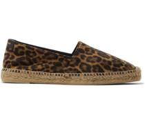 Leather-Trimmed Leopard-Print Suede Espadrilles