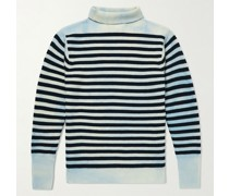 Tie-Dyed Striped Ribbed Wool Rollneck Sweater