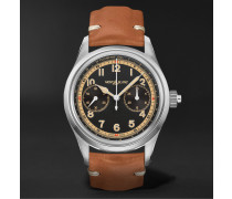 1858 Monopusher Automatic Chronograph 42mm Stainless Steel and Leather Watch, Ref. No. 125581