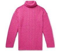 Brushed Ribbed-Knit Rollneck Sweater