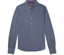 Cutaway-Collar Silk and Cotton-Blend Shirt