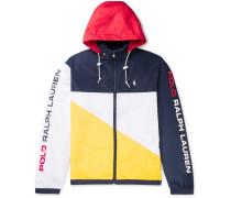 Logo-Print Colour-Block Shell Hooded Jacket