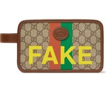 Logo-Appliquéd Leather-Trimmed Printed Monogrammed Coated-Canvas Wash Bag