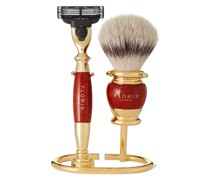 Three-Piece Gold-Plated and Briarwood Shaving Set