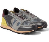 Camouflage-print Canvas, Leather And Suede Sneakers